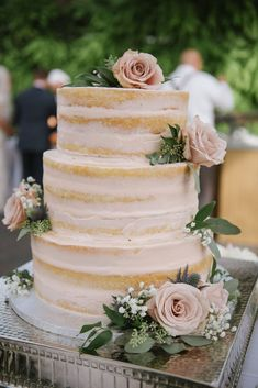 Naked three layer cake with blush roses for a summer garden wedding at Thanksgiving Point