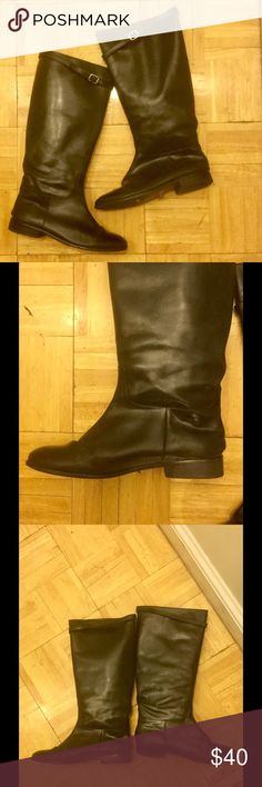 Black leather riding boots Classic black leather riding boot. These are pull-on and do not have a zipper. Rounded toe, comfortable and wide at the ankle. Small buckled accent strap at the top. Great condition, barely ever worn. Banana Republic Shoes Winter & Rain Boots