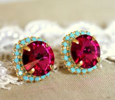 Pink turquoise Stud earrings Rhinestones Crystal big by iloniti, $41.00