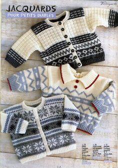 Anny Blatt Hors-serie n° 1 - 壹一 - 壹一的博客 Sweater Knitting Patterns, Knitting Designs, Knit Patterns, Cardigan Bebe, Baby Cardigan, Baby Boy Knitting, Knitting For Kids, Pull Bebe, Knit Baby Sweaters