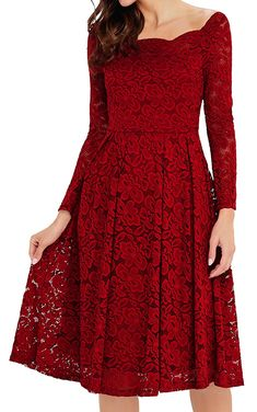 Annigo Womens Vintage Long Sleeve Floral Lace Formal Cocktail Party Dress | Winter Wedding Ideas *** Be sure to check out this awesome product. (This is an affiliate link) #WinterWeddingIdeas
