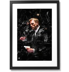 "Framed Sartorial Painting 007 James Bond Collection - Daniel Craig No.01, 16"" X 24"" Daniel Craig, Black Wood, James Bond, Fine Art Paper, Museum, Frame, Artist, Prints, Painting"