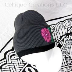 Celtic Knot Wild Rose Beanie Knit Winter Hat with Swarovski Crystal | celtique_creations - Accessories on ArtFire