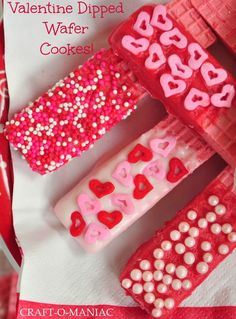 Valentine Cookies...EASY! Just dress up wafer cookies! http://www.craft-o-maniac.com/2013/01/valentine-cookies.html?m=1