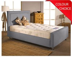 Substantial, richly upholstered Calvington super kingsize bed frame made in the UK. The Calvington combines a framed headboard with a chunky foot end and chrome feet to produce a modern, stylish design at a surprisingly low price. Choose from 11...