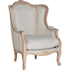 716.95   Bring Provencal inspiration to your parlor or living room seating group with this elegant arm chair, showcasing beige upholstery and carved floral details.