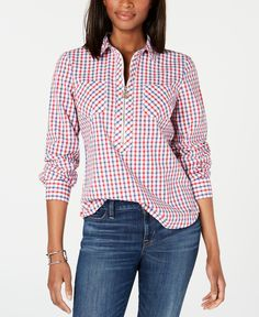 Tommy Hilfiger Popover Zip-Neck Plaid Top, Created for Macy's - Dorothy Check- Red Multi Tommy Hilfiger Top, Look Fashion, Fashion Design, Womens Fashion, Baby Clothes Shops, Trendy Plus Size, Blouses For Women, Plaid, Outfits