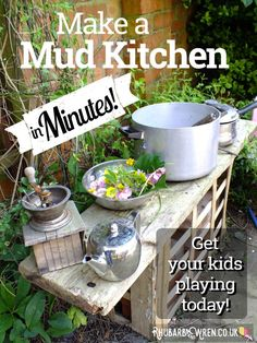 How to Magic Up a Perfectly-Imperfect Mud Kitchen Today! – Rhubarb and Wren – Natural Playground İdeas Diy Mud Kitchen, Mud Kitchen For Kids, Kitchen Magic, Wren Kitchen, Kitchen Ideas, Outdoor Activities For Kids, Outdoor Learning, Summer Activities, Family Activities