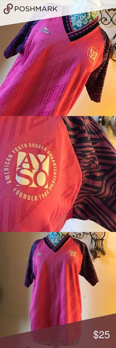 Lucky #9 Hot Pink Purple Soccer ⚽️Practice Jersey I scored like cRaZy in this Jersey and got picked up for all stars in this ;) smoke free home - great condition. We were called the powder puff girls. (I was nicknamed bubbles) anyway! Made by the American soccer company in USA. 65% polyester 35% cotton. Hot pink and while geometric purple sleeves. Some blue on the coller. American youth soccer organization. Sports. Sporty. *** not adidas but I want an athletic brand listed SCORE Men's A…