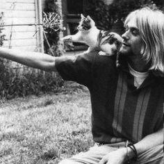Kurt Cobain and a kitten.
