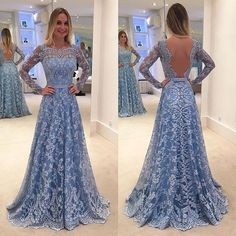 Blue Long Sleeves Formal Long Lace Prom Dresses, PM0100 The dress is fully lined, 4 bones in the bodice, chest pad in the bust, lace up back or zipper back are all available. This dress could be custo