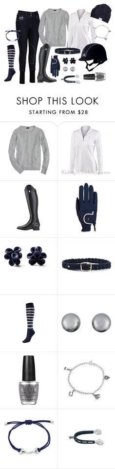 """""""Navy Days"""" by equestrianartist ❤ liked on Polyvore featuring J.Crew, Ariat, Hring eftir hring, Tory Burch, Kenneth Jay Lane, OPI, Bling Jewelry and Gemma J"""