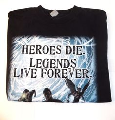 Men's M DC Comics Justice League Heroes Die Legends Live Forever T Shirt | eBay