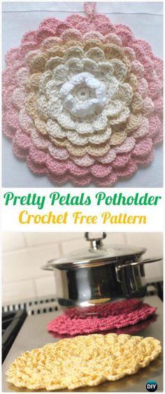 Crochet Pretty Petals PotholderFreePattern+Video - Crochet Pot Holder Hotpad Free Patterns