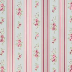 Floral Stripe Oilcloth in Duck Egg
