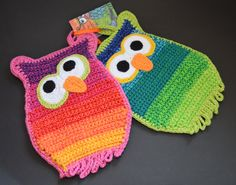 Crochet - potholders Pattern avaible on Ravelry in german, danish and soon english. Look under: FruStraaten Crochet Potholder Patterns, Crochet Owls, Crochet Faces, Crochet Dishcloths, Knit Patterns, Knit Crochet, Crochet Hot Pads, Hobbies To Take Up, Crochet Kitchen