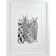 Chá com Letras - Mummified Cats Print A4 (€27) ❤ liked on Polyvore featuring home, home decor, wall art, unframed wall art, british home decor, cat home decor, paper wall art and egyptian wall art