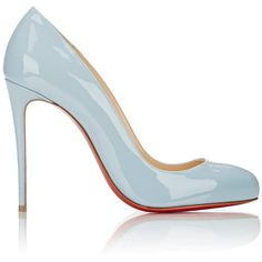 Christian Louboutin Patent Dorissima Pumps (4.285 VEF) ❤ liked on Polyvore featuring shoes, pumps, heels, blue, blue high heel shoes, high heels stilettos, patent pumps, blue patent leather pumps and stiletto pumps