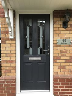 Anthracite grey Rockdor, installed by ourselves. Composite Front Door, Door Design Interior, Front Doors, Tall Cabinet Storage, Gate, Kitchen Ideas, Windows, Modern, House