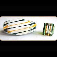 60's Clear Lucite Striped Rainbow Bracelet & Ring Set