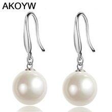 S925 plata perfecto círculo de la perla pendientes largos pendientes sección de modelos femeninos grandes top jewelry women de la joyería de la joyería del gancho del oído(China (Mainland))