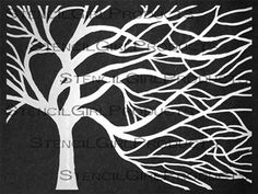 """Windswept Tree Stencil 9""""x12""""   Donna Downey Studios Inc"""