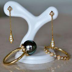 K18南洋黒真珠ダイアモンドリング K18ダイアモンドリング K18ダイアモンドピアス