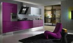 Best 12 Stylish Purple Kitchen Design Inspirations : Fancy Purple Kitchen Design with Glossy Purple Kitchen Cabinets and Black Synthetic Rug...