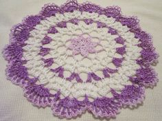 crocheted doily purple white home decor handmade in USA original design
