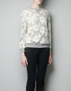 ZARA SWEATSHIRT WITH CONTRASTING LACE
