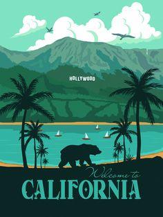 California Travel poster Landscape Los Angeles Hollywood Vintage wall art minimalism bear republic print