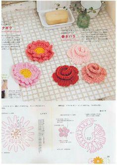 Crochet flowers chart pattern