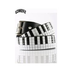 Lowlife Piano Keys Studded Belt - Black/Black/White Studs ($15) ❤ liked on Polyvore featuring accessories, belts, jewelry, other, men, real leather studded belt, leather belt, black buckle belt, black leather belt en studded leather belt