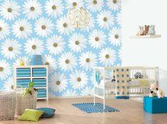 Wall Design Idea Blue White Flower For Infant Baby Room Wall Decor Room Wallpaper Designs, Girls Bedroom Wallpaper, Of Wallpaper, Kids Bedroom, Bedroom Decor, Bedroom Ideas, Baby Bedroom, Nursery Room, Original Wallpaper
