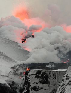 black, white, gray, salmon & rose | Icelandic Volcano | 2011