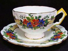 AYNSLEY-BLUE-ORANGE-FLORAL-CROCUS-SHAPE-TEA-CUP-AND-SAUCER