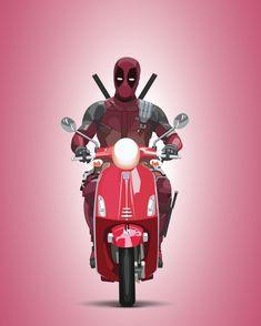 Illustration I did of Deadpool on a Vespa from Deadpool 2