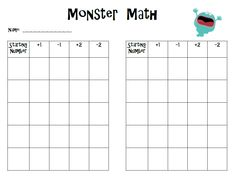 FREE. The first one is for math.  The kids will use the monster cards and practice adding 1 and 2 and subtracting 1 and 2.  This is another great assessment of number sense to 100.  Click {here} for a copy.