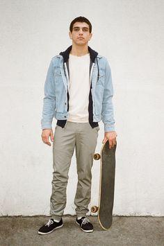 Jasper wears Sport Slack, Power Washed Tee, Denim Jacket and Dov's Hoodie by #AmericanApparel #AAmen #MensWear