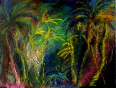 Noche lluviosa/ Rainy night @ Providencia Isla. Wet pastel on paper by Sara Angel from Cali, Colombia