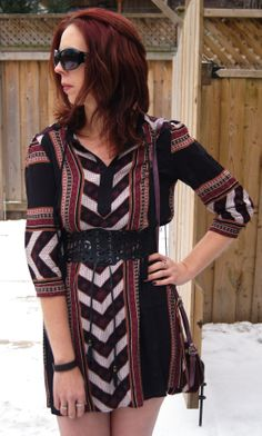 Love this aztec pattern on my new @Forever 21 dress! Find out more about this look!: http://www.thepurplescarf.ca/2014/01/Fashion-My-Style.Travel-Dress.Aztec-Print-From-Forever-21.html #fashion #style