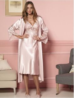 7ac77b00a Blush pink k satin nightgown with jacket