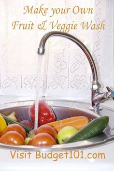 Budget101  MYO Veggie Wash- Remove Pesticide residue and bacteria from your fresh fruits and veggies with this simple, money saving, do it yourself produce spray  http://www.budget101.com/myo-household-items/make-your-own-fruit-vegetable-wash-3670.html