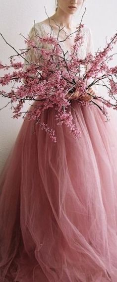 Spring style!! Blossoms of pink and a pink tulle skirt -- so fresh and pretty for a Spring Dance!