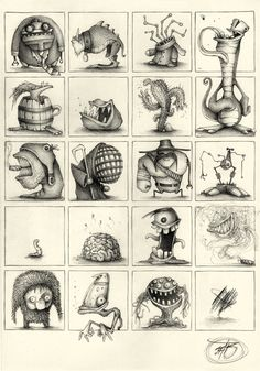 PK_M Collection by Paride Bertolin (JAB), via Behance - for a monster mural wall Monster Sketch, Doodle Monster, Monster Drawing, Monster Art, Cartoon Monsters, Cute Monsters, Little Monsters, Cartoon Art, Cartoon Drawings
