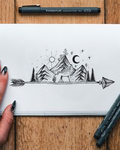 Art created by artist Jill Ilsay (jill_islay) from Scotland Arrow with mountain scenery The post Find the perfect tattoo and inspiration to make your tattoo appeared first on Woman Casual - Drawing Ideas Tattoo Sketches, Tattoo Drawings, Art Sketches, Easy Drawings, Pencil Drawings, Handpoke Tattoo, Bild Tattoos, Nature Tattoos, Pen Art