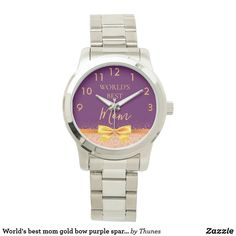 World's best mom gold bow purple sparkle rose gold watch. Christmas gift for your mother. Best Aunt, Best Mom, Purple Sparkle, Purple Gold, Shopping World, Rose Gold Color, Michael Kors Watch, Gold Watch, Bracelet Watch