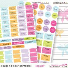 Coupon Binder Oranization Printables Coupon by JWIllustrations, $5.00