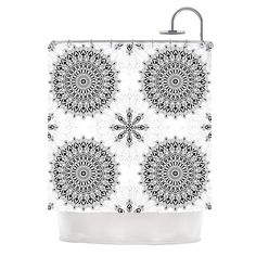 Search Dot & Bo for deals on great products. #curtain #bath #blackandwhite #mandala #geometric #pattern #shower #pattern