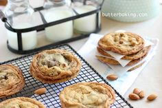 Going to substitute coconut oil for butter in this recipe. Salted Almond Chocolate Chip Cookies | Butter Baking